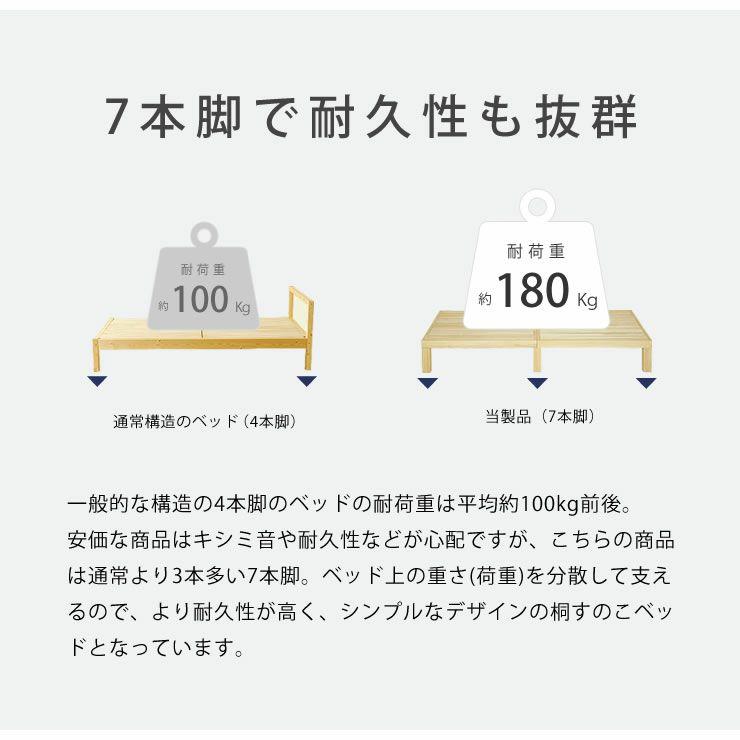 あ!かる~い!高級桐材使用、組み立て簡単シンプルなすのこベッドダブルサイズ フレームのみ_詳細09