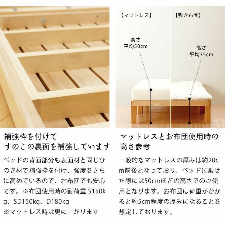 国産ひのき材使用、組み立て簡単シンプルなすのこベッドシングサイズ フレームのみ_詳細11