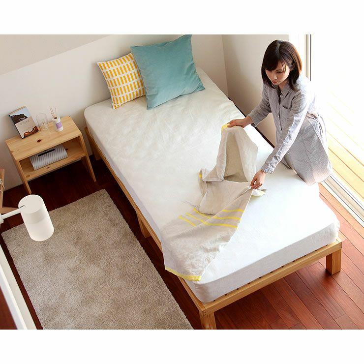 国産ひのき材使用、組み立て簡単シンプルなすのこベッドシングサイズ フレームのみ_詳細19