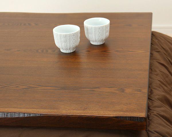 タモ材の風合いでほっと落ち着く こたつテーブル 正方形80cm幅_詳細03