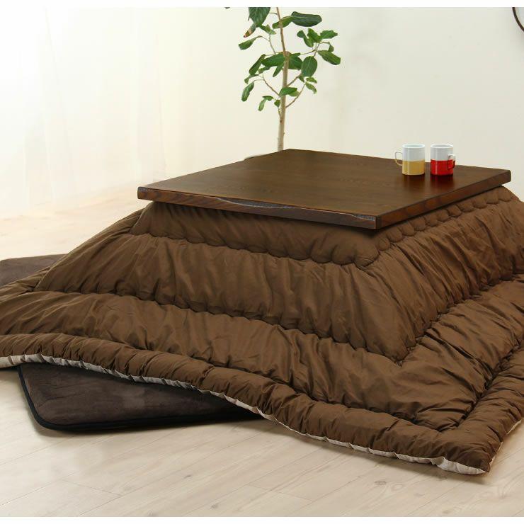 タモ材の風合いでほっと落ち着く こたつテーブル 正方形80cm幅_詳細19