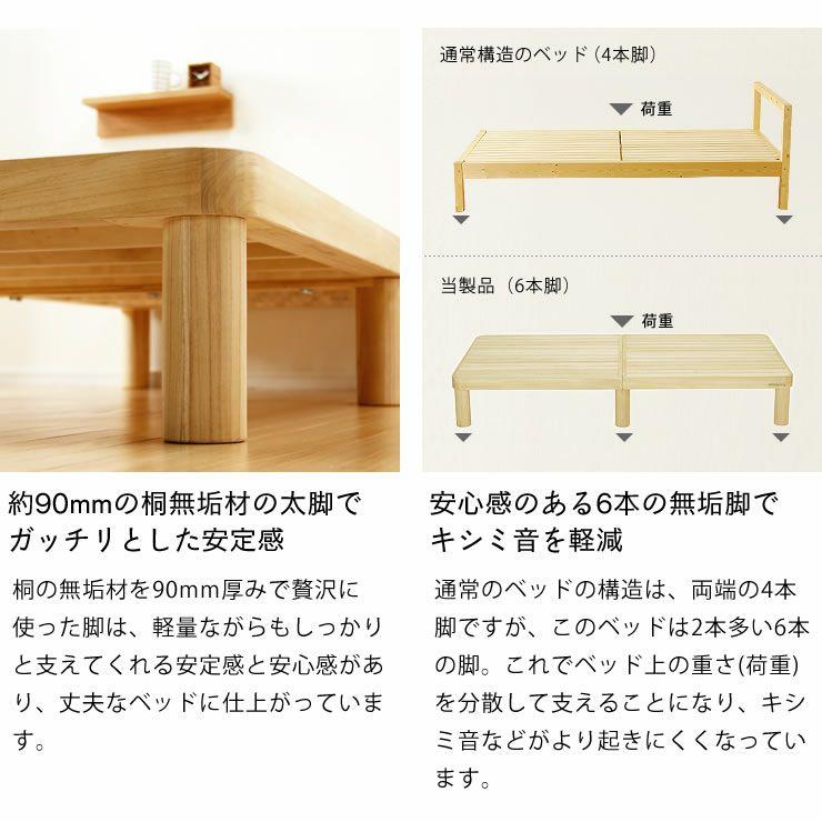 広島の家具職人が手づくり角丸 すのこベッド(桐材)シングルサイズ(ヘッドレス)フレームのみ_詳細07