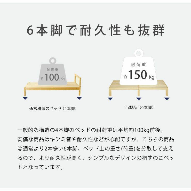 広島の家具職人が手づくり角丸 すのこベッド(桐材)シングルサイズ(ヘッドレス)フレームのみ_詳細08