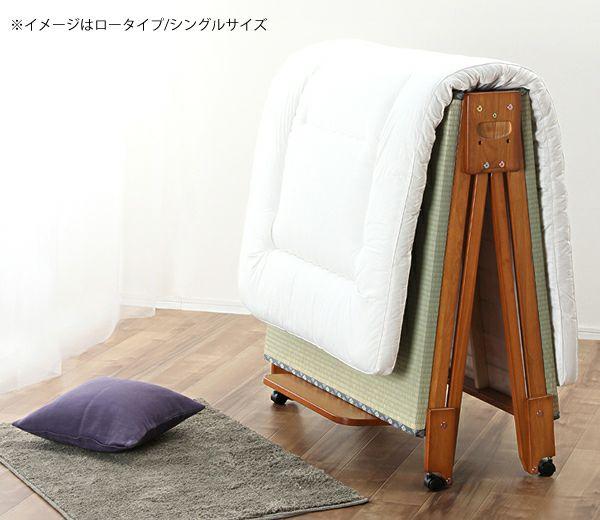 出し入れ簡単!折り畳みが驚くほど軽くてスムーズな木製折りたたみ畳ベッド ワイドシングルロータイプ_詳細02