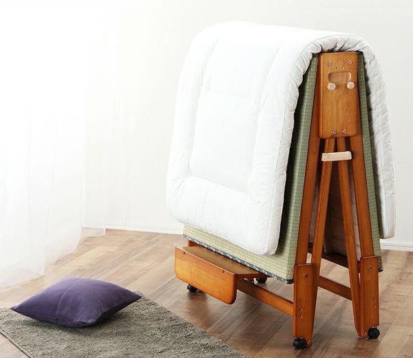 出し入れ簡単!折り畳みが驚くほど軽くてスムーズな木製折りたたみ畳ベッド シングルハイタイプ_詳細02