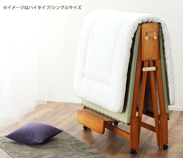出し入れ簡単!折り畳みが驚くほど軽くてスムーズな木製折りたたみ畳ベッド ワイドシングルハイタイプ_詳細02