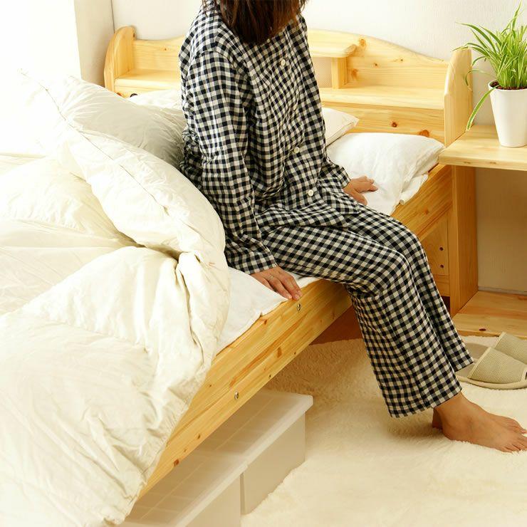 ひのき材の照明付き木製畳ベッド(キャビネットタイプ)シングルサイズ たたみ付_詳細03