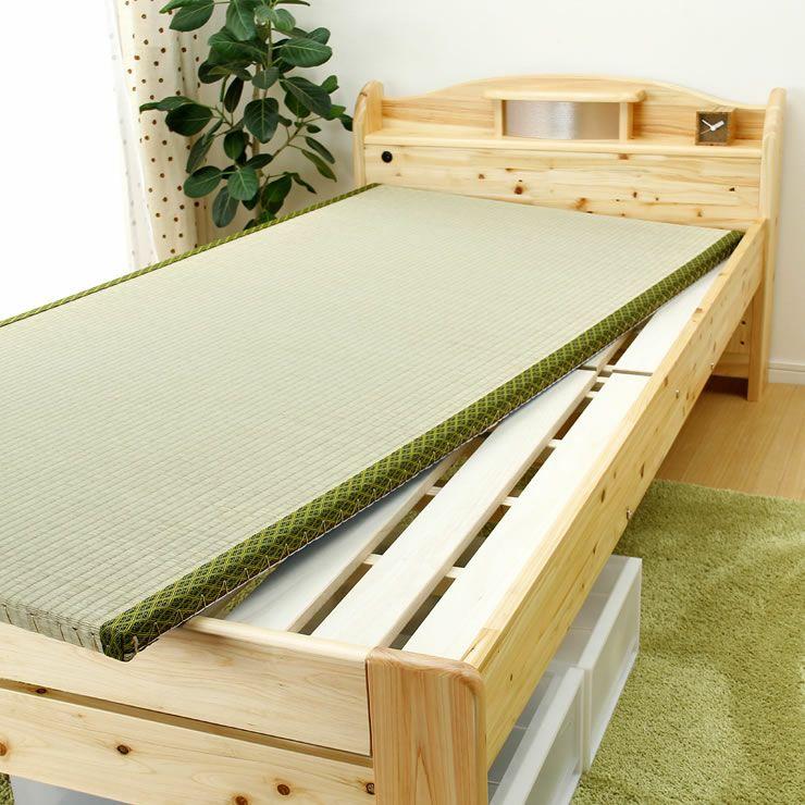 ひのき材の照明付き木製畳ベッド(キャビネットタイプ)シングルサイズ たたみ付_詳細16