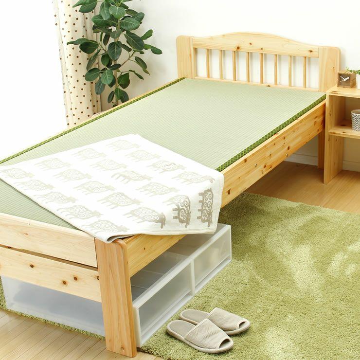 ひのき材の木製畳ベッドシングルサイズたたみ付_詳細18