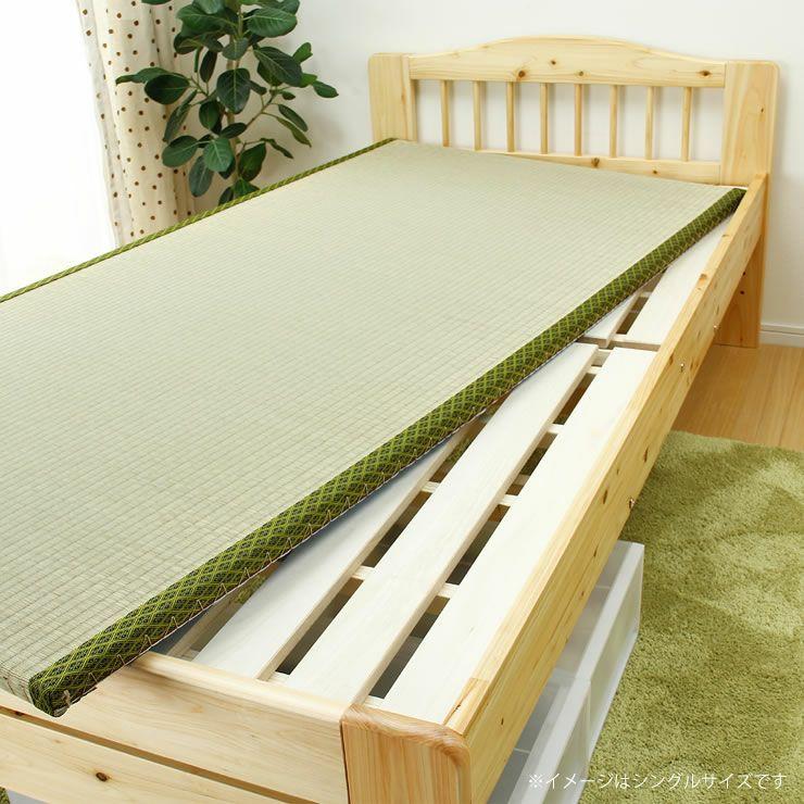 ひのき材の木製畳ベッドセミダブルサイズたたみ付_詳細16