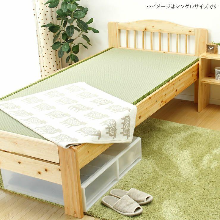 ひのき材の木製畳ベッドダブルサイズたたみ付_詳細18