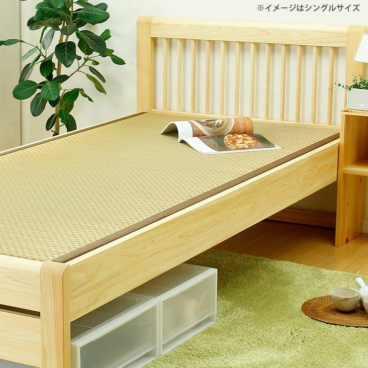 ひのき無垢材を贅沢に使用した木製畳ベッドセミダブルサイズ_詳細02