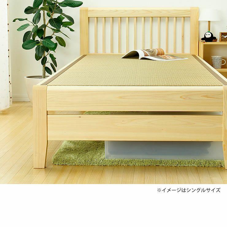 ひのき無垢材を贅沢に使用した木製畳ベッドセミダブルサイズ_詳細16