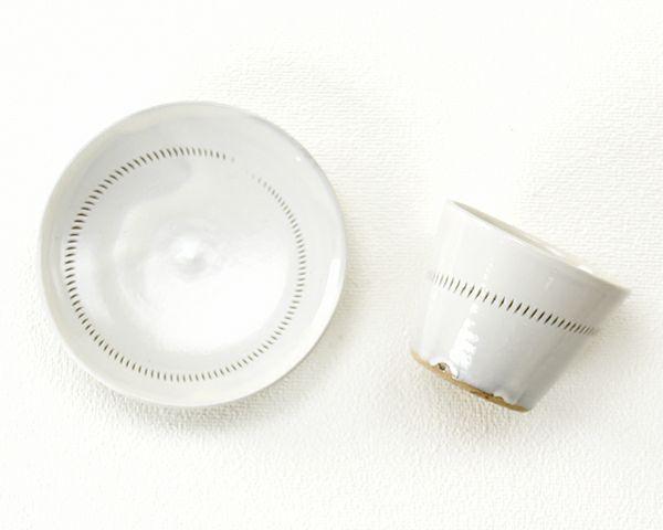 蔵人窯(くらんどがま)小石原焼カップ+平皿セットトビカンナ1本(直径9cm+直径14cm)_詳細03