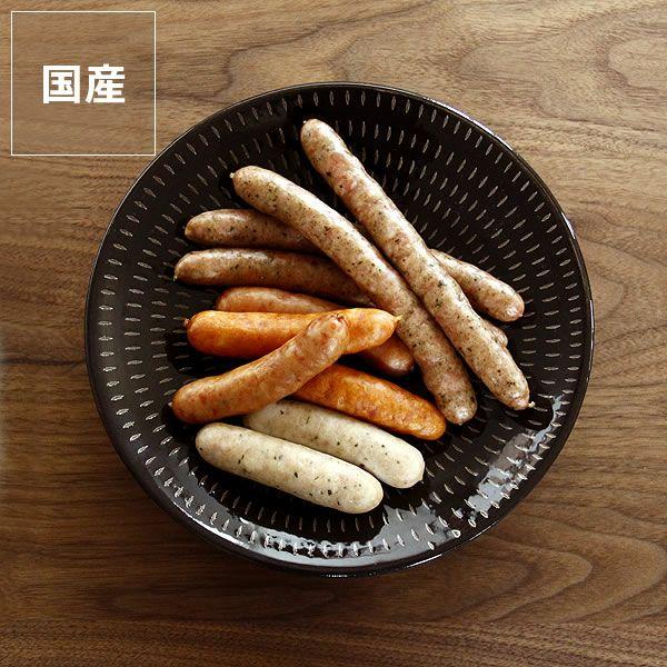 鶴見窯(つるみがま)小石原焼平皿とびかんな黒(直径22cm)_詳細01