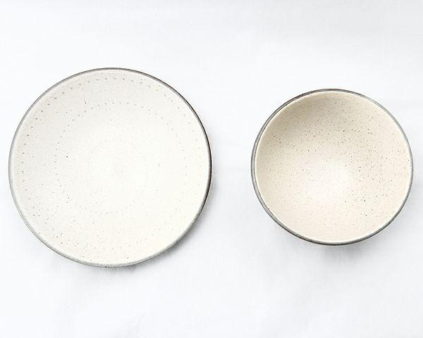 鶴見窯(つるみがま)小石原焼カフェオレボウル+平皿セット ボーダー+白マット(直径11.5cm+直径16cm)_詳細03