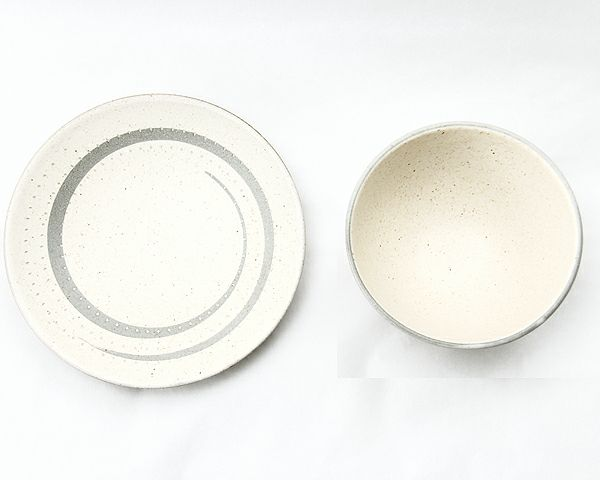 鶴見窯(つるみがま)小石原焼カフェオレボウル+平皿セット うずまき模様マット(直径11.5cm+直径16cm)_詳細03