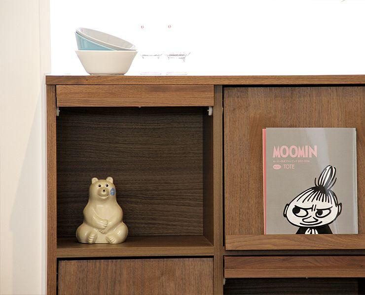シンプルで上質な色合いの木製マガジンラック・本棚 105cm幅_詳細02