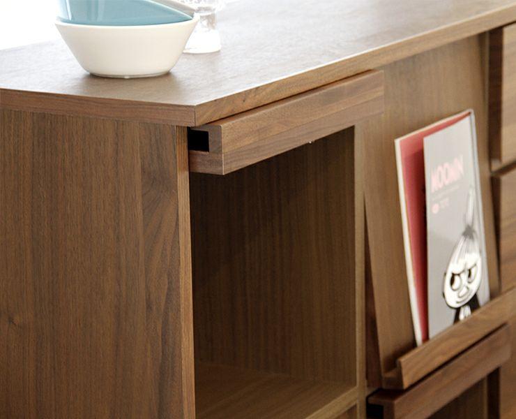 シンプルで上質な色合いの木製マガジンラック・本棚 105cm幅_詳細03