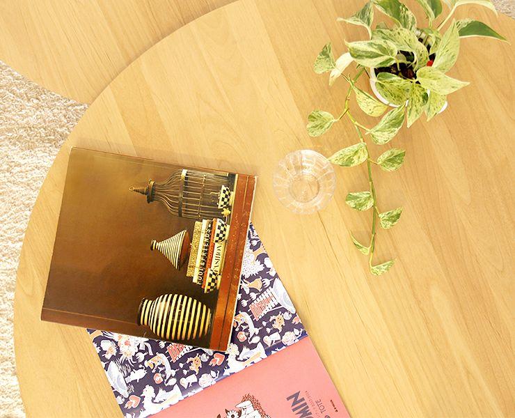 色々な表情を演出できる木製2枚テーブル 69cm幅_詳細03