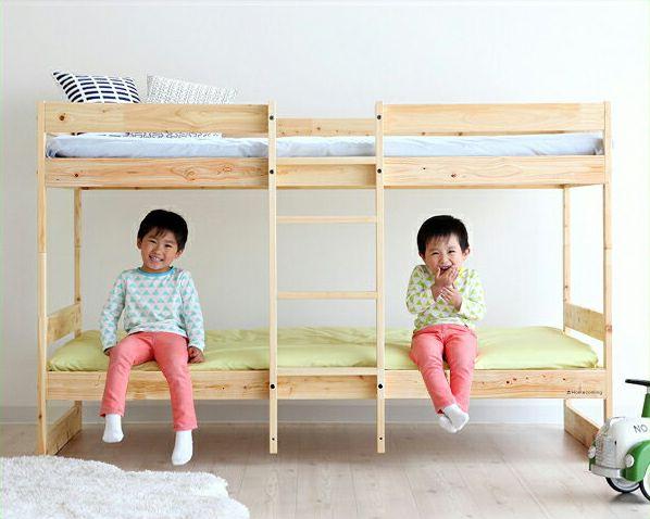 デザインを楽しむおしゃれな北欧テイストの国産ひのき二段ベッド_詳細01