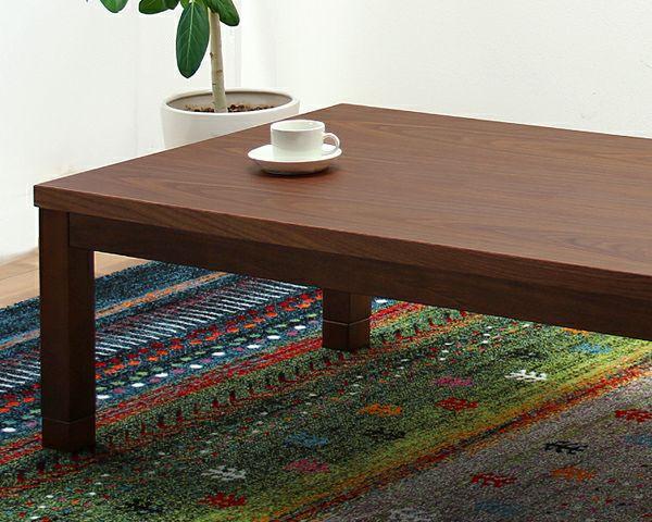 ブラックチェリー材とウォールナット材使用したおしゃれなオリジナルデザインの こたつテーブル長方形120cm幅_詳細02