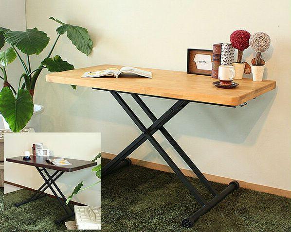 アルダー無垢材のガス圧式昇降テーブル幅120cm_詳細01