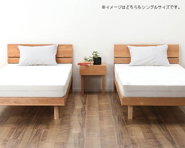 シンプルなデザインのアルダー材の木製すのこベッド シングルサイズポケットコイルマット付_詳細03