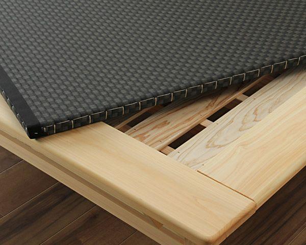 木目の美しい宮付きひのき材の木製畳ベッド ダブルサイズ_詳細02