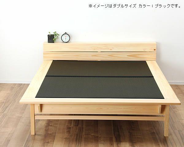 木目の美しい宮付きひのき材の木製畳ベッド ダブルサイズ_詳細03