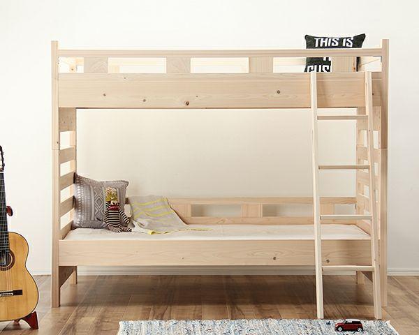 床高を変えられるナチュラルな無塗装の国産ひのき2段ベッド_詳細02