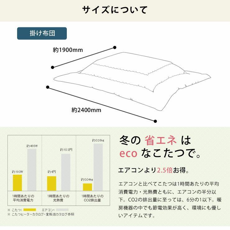 こたつ布団  薄掛け単品 190cm×240cm 「長方形105~120cm」用_詳細10