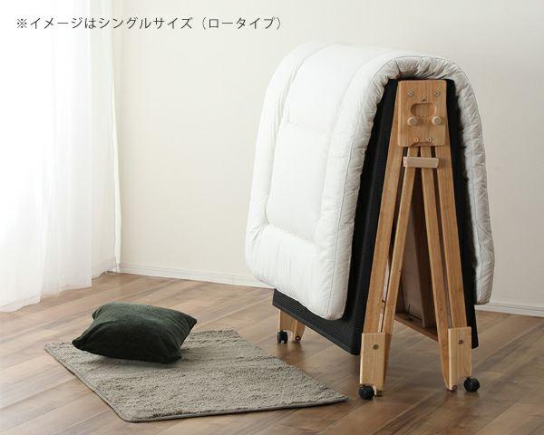 出し入れ簡単!折り畳みが驚くほど軽くてスムーズな炭入り折りたたみベッド 畳ベッドワイドシングルロータイプ_詳細02