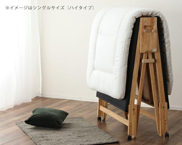 出し入れ簡単!折り畳みが驚くほど軽くてスムーズな炭入り折りたたみベッド 畳ベッドワイドシングルハイタイプ_詳細02