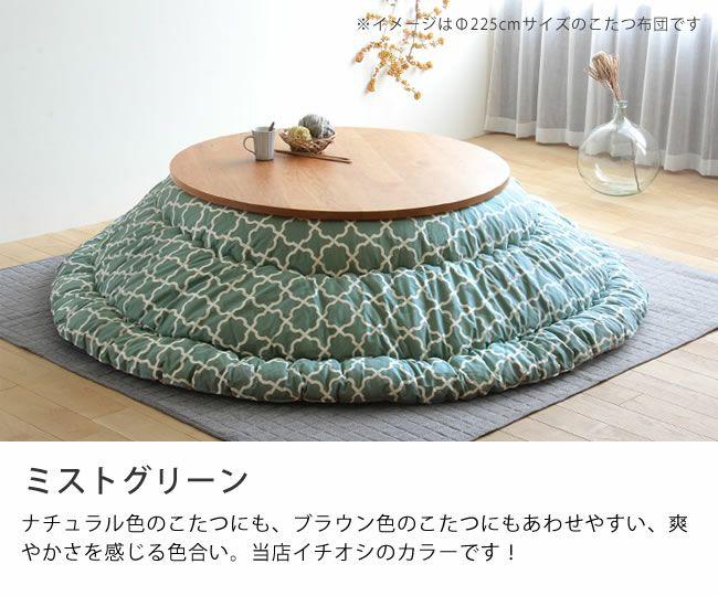 合わせやすいブルーグリーン系北欧カラーのこたつ布団