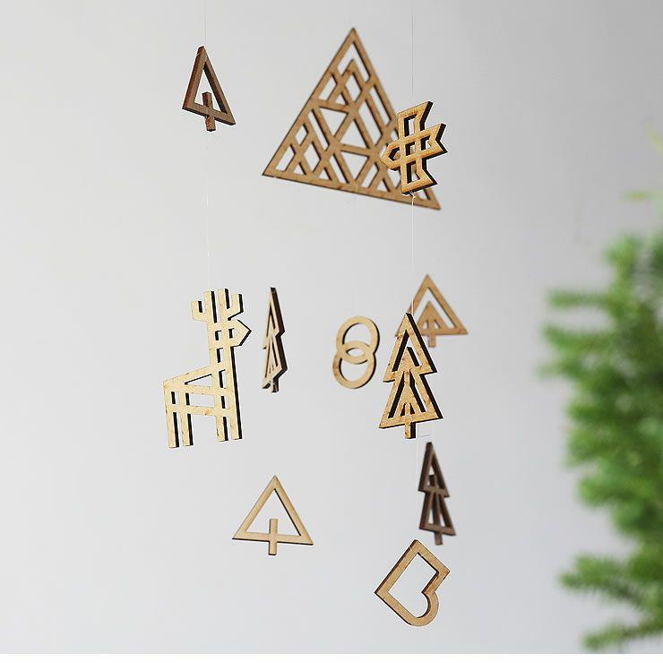 Sukima.(スキマ)真鍮と木製の森のモビール_詳細05