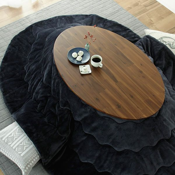 こたつテーブル 楕円形105cm丸 アカシア材_詳細02