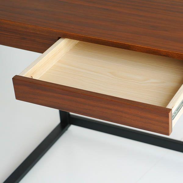深みのある色合いのウォールナット木製デスク110cm幅_詳細03