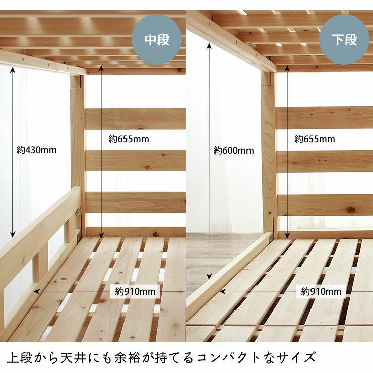 三段ベッドの内寸サイズ